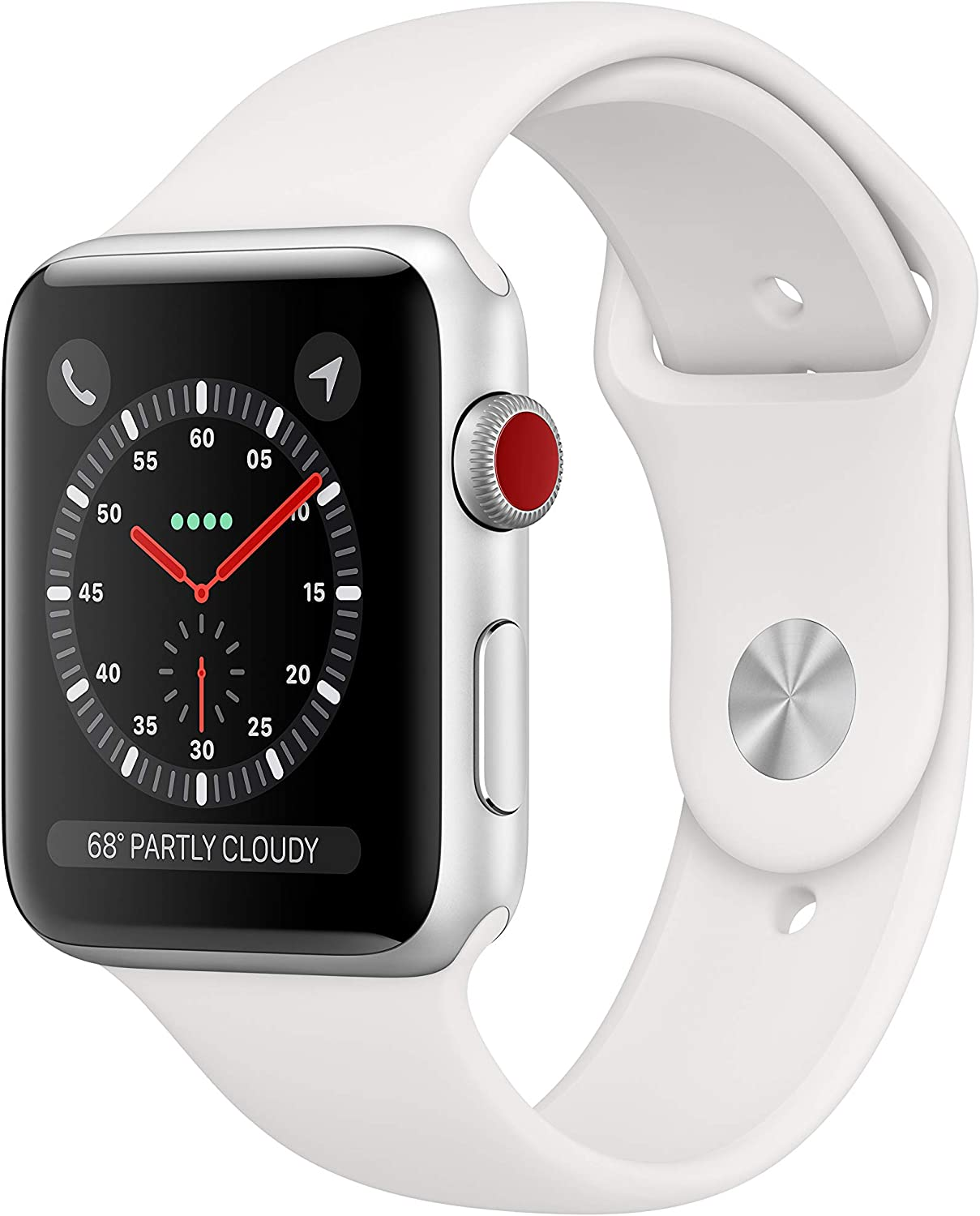 AppleWatch Series3 (GPS+Cellular, 42mm) - Silver Aluminum Case with White Sport Band