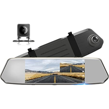 """TOGUARD Backup Camera for Cars 7"""" Mirror Dash Cam Touch Screen 1080P Rear View Mirror Camera Front and Rear Dual Lens with Waterproof Reversing Camera Parking Assistance"""