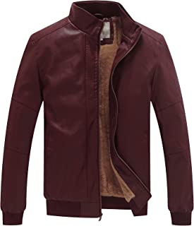 Sponsored Ad - WenVen Men`s Stand Collar Fleece Lined Bomber Faux Leather Jacket