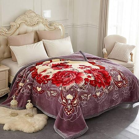 Jyk Plush Blanket Queen Size 8lbs 2 Ply Reversible Soft Fuzzy Warm Korean Style Faux Mink Fleece Bed Blanket For Autumn Winter Kitchen Dining