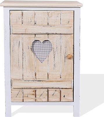 Rebecca Mobili Aparador de Cocina, Armario con 1 Puerta, Madera de Paulownia, marrón Blanco, Estilo Shabby - Medidas: 57 x 40 x 30,5 cm (AxANxF) - Art. RE4352