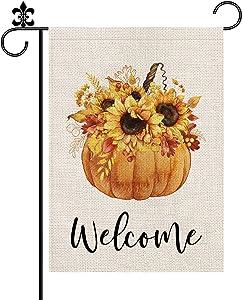 Fall Pumpkin Sunflower Garden Flag Welcome Autumn Burlap Vertical Double Sided Outdoor Decorations Seasonl Yard Decor 12.5 x 18 Inch