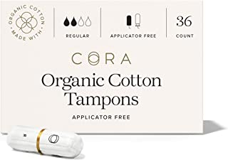 Cora Organic Cotton Non-Applicator Unscented Tampons; Chroline & Toxin Free - Regular (36 Count)
