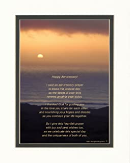Ocean Sunset Photo with Happy Anniversary Prayer Poem, 8x10 Double Matted for Anniversary for Couples for First to 10th, 25th, 50th