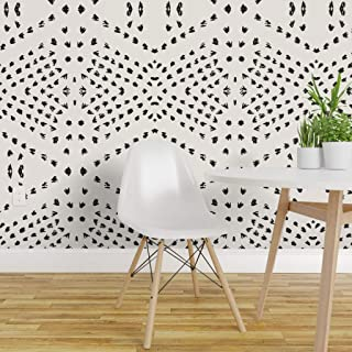 Spoonflower Pre-Pasted Removable Wallpaper, Tribal Boho Gestural Lines Black White Tile Dot Bohemian Geo Geometric Neutral Print, Water-Activated Wallpaper, 24in x 108in Roll
