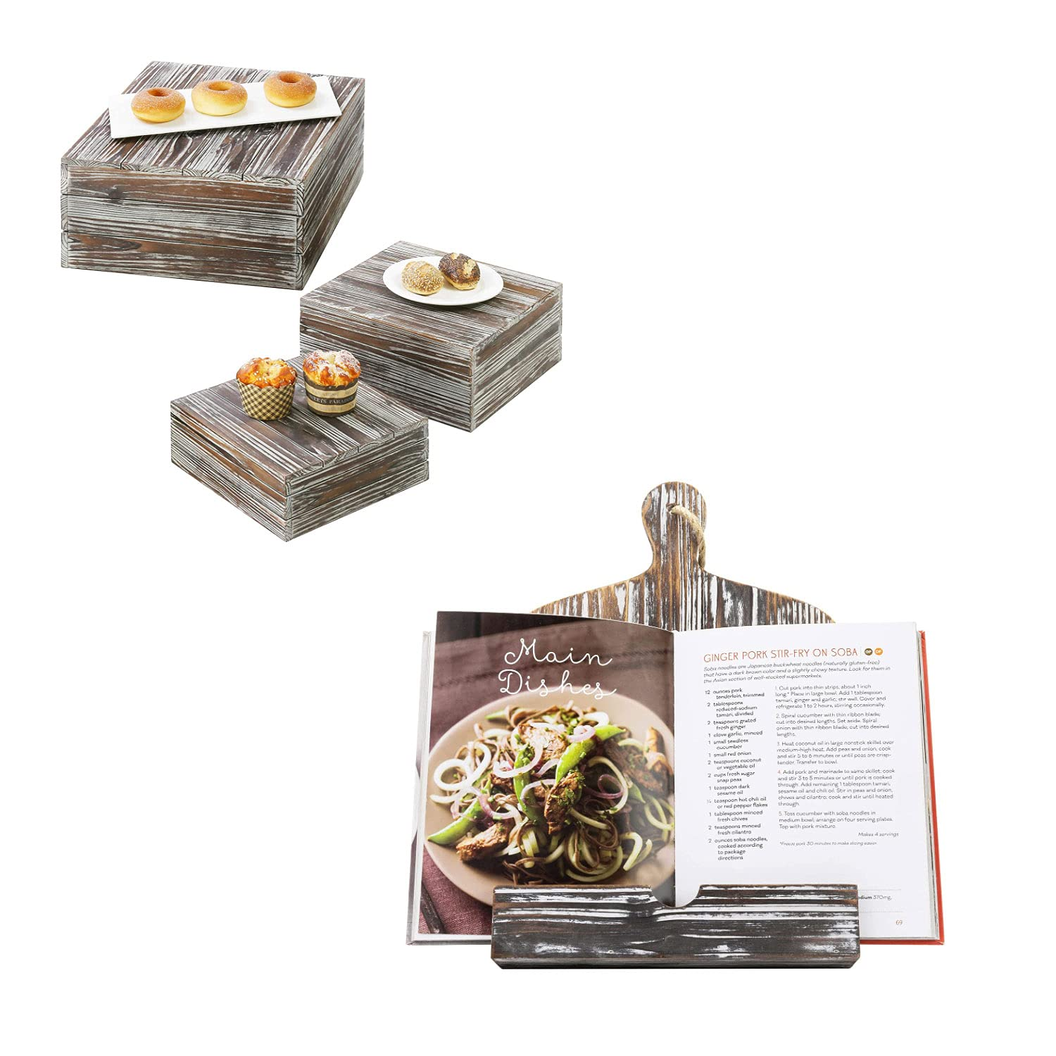New item MyGift Torched Wood Stackable Display Box Stands 3 Set Max 43% OFF Riser of