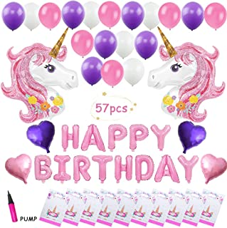 Unicorn Balloons Party Supplies -Teslasz 57 Pcs for Girl's Birthday Decorations,Birthday Party Favors for Kids, Foil Heart Birthday Balloons with Air Pump & 20 Unicorn Gift Bags for Kids Unicorn Party Decor