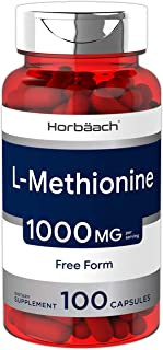 Horbaach L Methionine 1000 mg | 100 Capsules | Non-GMO, Gluten Free | Free Form Supplement