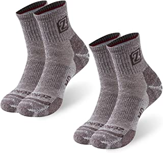 Merino Wool Socks, ZEAL WOOD Unisex Hiking Trekking Quarter Socks Thermal Warm Winter Socks,1/2/4 Pairs