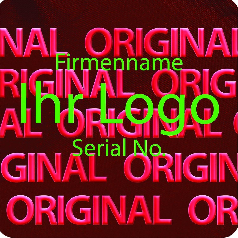 EtikettenWorld EtikettenWorld EtikettenWorld BV, EW-H-2300-14-tg-700, 700 Stück Hologrammaufkleber, 2D, 10x10mm rotfarbige Metallfolie, bedruckt in grün mit Ihrem Wunschtext Logo, Hologramm Etiketten, selbstklebend, Hologramm Aufkleber, Sicherheitssiegel, Garantiesiegel, Gar e2e732