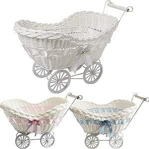 FunkyBuy Large Baby Pram Hamper Wicker Basket Premium Quality Shower Party Gifts Boys Girls New Born  White