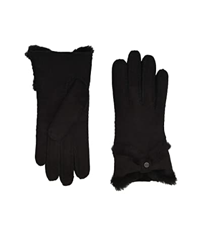 UGG Water Resistant Sheepskin Turned Bow Gloves (Black) Extreme Cold Weather Gloves