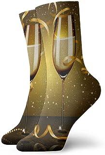 QQOP, N/A Calcetines de Vestir para Hombre, diseño de champaña y Encaje