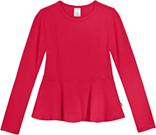City Threads Girls Cotton Long Sleeve Peplum Top Blouse Shirt for School Or Play