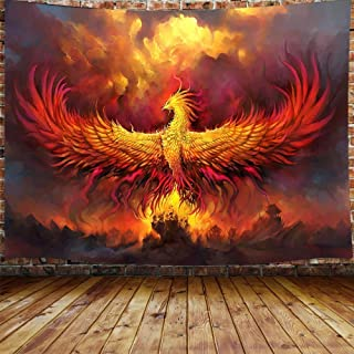Fantasy Phoenix Bird Large Tapestry for Men, Red Anime Animal Hippie Tapestry Wall Hanging for Bedroom, Aesthetic Cool Tap...