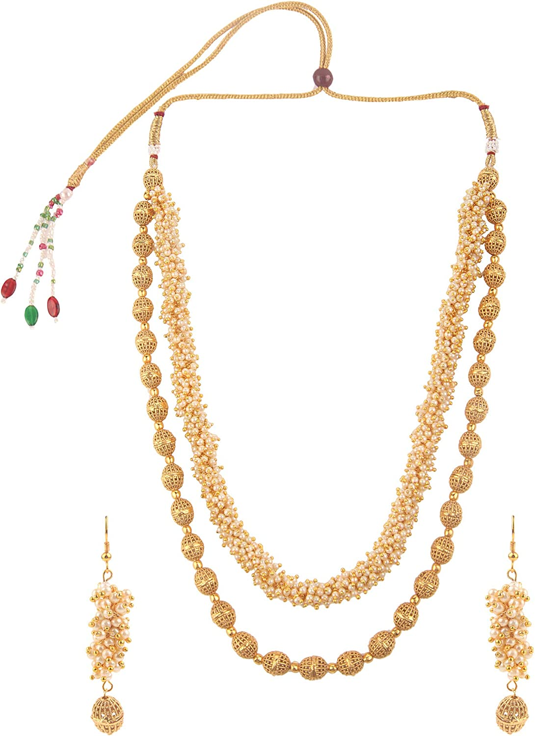 Efulgenz Indian Bollywood 14 K Gold Plated Faux Pearl Beads Bridal Strand Statement Necklace Earrings Wedding Jewelry Set