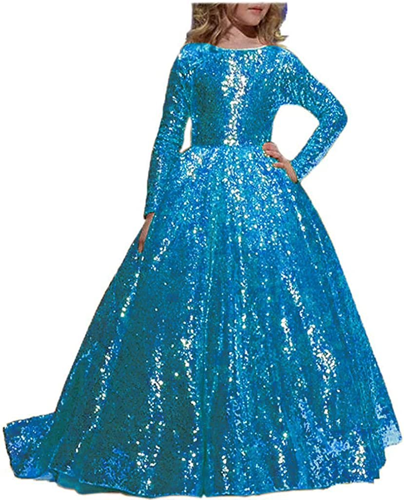 Abaowedding Flower Girl Dress Sequined Pageant Ball Gown Kids Long Sleeves Christmas Birthday Party Dresses