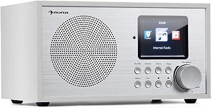 auna Silver Star Mini Radio con Internet y Bluetooth - Dab+/FM , Wi-fi , USB , Entrada AUX , 8 W de Potencia Media , Pantalla HCC , Mando a Distancia , Blanco