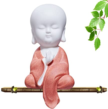 UOON Cute Larger Buddha Statue Monk Figurine for Meditation Yoga Decor (Larger Monk)