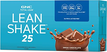 GNC Total Lean Lean Shake 25 to Go Bottles - Swiss Chocolate, 12 Pack, Low-Carb Protein Shake to Improve Weight Loss