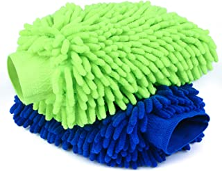 Car Wash Mitts- 2 Pack Extra Large Size - Winter Waterproof -Premium Chenille Microfiber Car Wash mitt - Lint Free - Scrat...