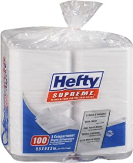 Hefty Foam Hinged 3 Compartment Togo Boxes, 100 Count