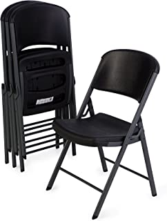 Lifetime Classic Commercial Grade Folding Chair, Black with Gray Frame, 4 Pack