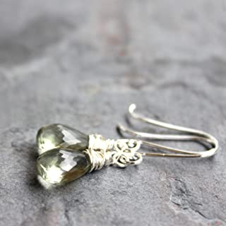 Green Amethyst Earrings Prasiolite Sterling Silver Elegant Drop Dangles Teardrops