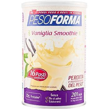 Pesoforma Smoothie Pasti Sostitutivi Dimagranti Shake Vaniglia, Ricco in Fibre, SOLO 201 Kcal per pasto - 16 Pasti - 436 Gr