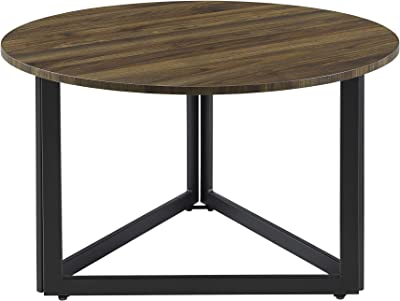 Walker Edison Modern Round Metal Base Coffee Table Living Room Accent Ottoman, 32 Inch, Walnut Brown