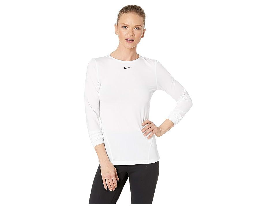 Nike Pro All Over Mesh Long Sleeve Top (White/Black) Women