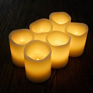 Flameless Flickering Candles Battery Operated with Cycling 24 Hours Timer Set of 6 LED Candle for Garden Wedding,Party, Christmas Decorations(34)