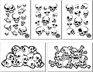 Acid Tactical Mylar Skull Spray pintura plantillas RC Modelo pistola aerógrafo calaveras máscara 5 diseños
