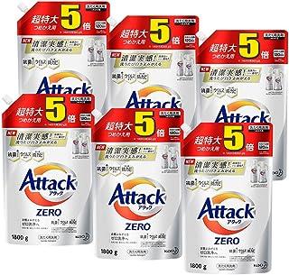 【ケース販売】アタック ゼロ(ZERO) 洗濯洗剤(Laundry Detergent) 詰め替え 1800g×6個 (清潔実感! 洗うたび白さよみがえる)
