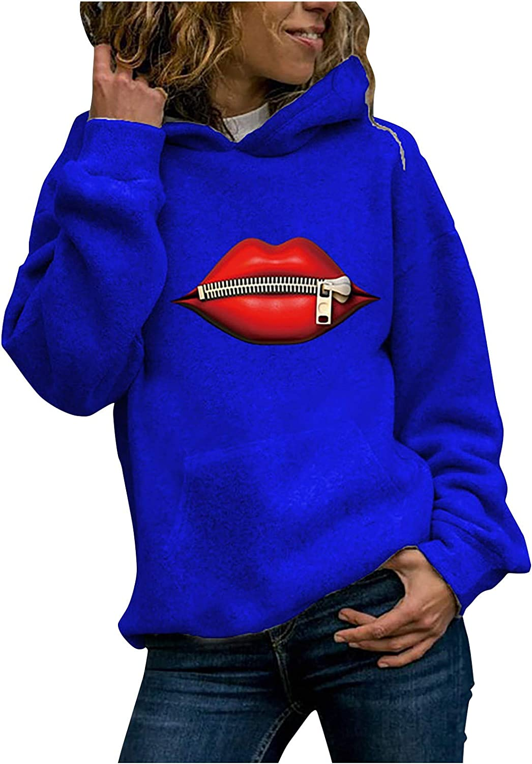 Hoodies for Women Sexy Red Lips Print Tops Casual Long Sleeve Pocket Pullover Solid Color Plus Size Sweatshirt