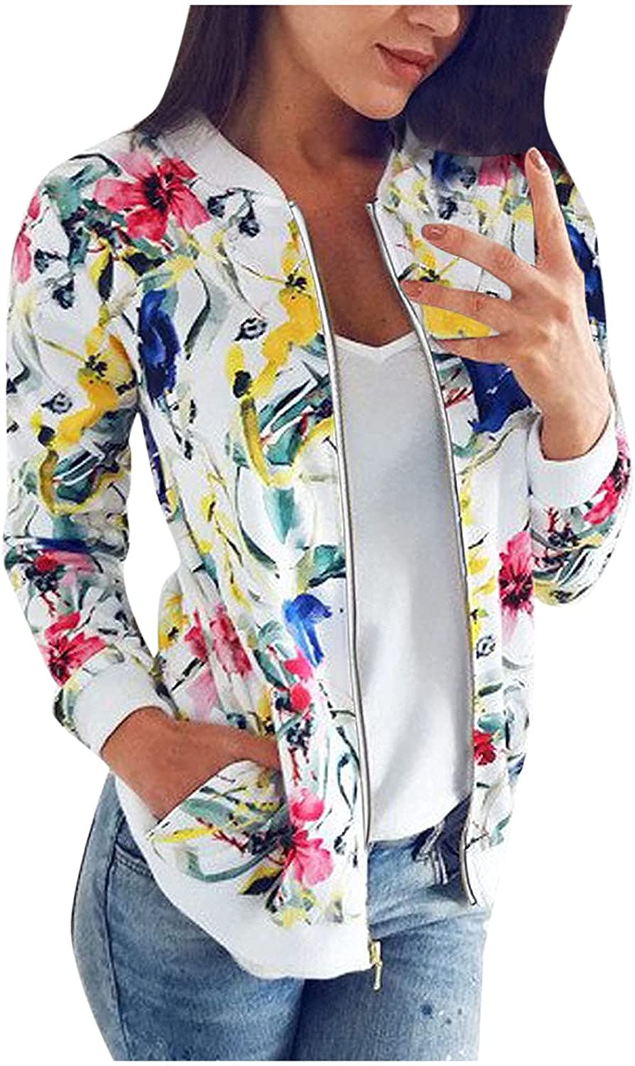 2021 Autumn and winter Women's Ladies Retro Floral Printing Zipper Up Jacket Casual Tops Coat Outwear