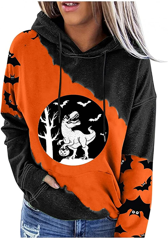 Womens Halloween Hooded Sweatshirt Pullover Funny Printed Colour Block Drawstring Long Sleeves Hoodie Tops w/ Pockets