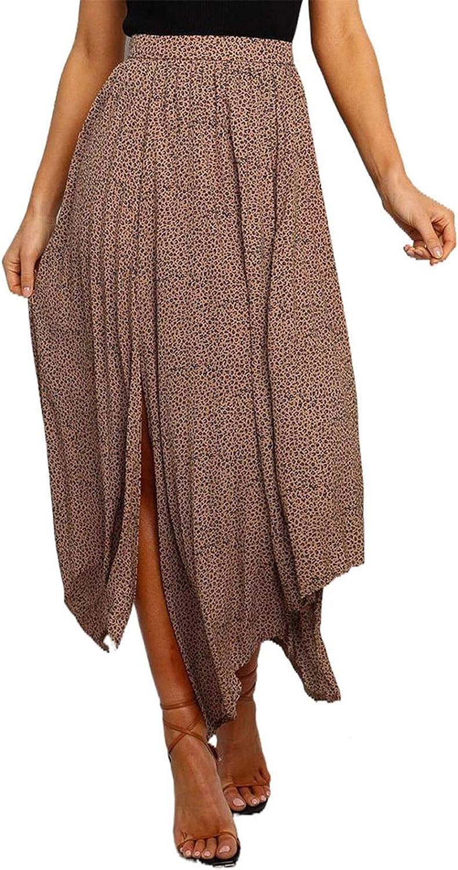 Bdcoco Womens Boho Polka Dot Pleated Skirt Casual High Waist Side Slit A-Line Skirt