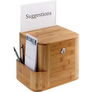 Safco Products 4237NA Bamboo, Natural Suggestion box, Mahogany