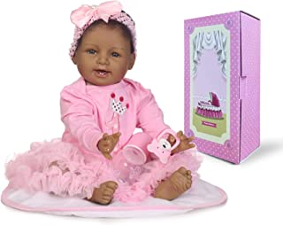 Pinky 22 inch 55cm Black Indian African Soft Body Silicone Reborn Baby Dolls Girl Princess Realistic Looking Newborn Doll Toddler Eyes Open Birthday Xmas Gift