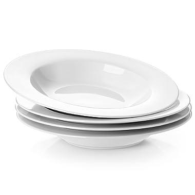 Y YHY 8.25 Inches Porcelain Soup Bowls, Rim Bowl Set, White, Set of 4