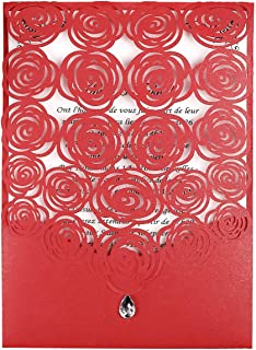 FEIYI 25PCS Laser Cut Invitations Cards Luxury Diamond Gloss Design with Pearl Paper Insert for Engagement Birthday Graduation Wedding, Bridal Shower Invite (Red)