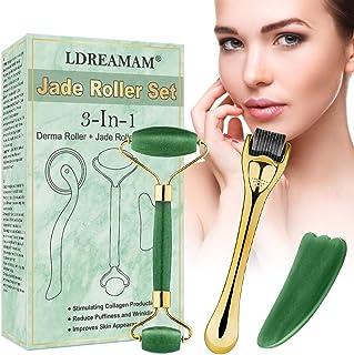 Derma Roller Jade roller Microneedle Derma Roller Rodillo Facial de Jade Facial Masaje Piedra Gua Sha Anti Aging Bell...