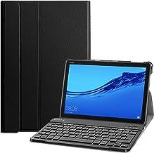 Fintie Funda con Teclado Español Ñ para Huawei MediaPad M5 Lite 10 - Carcasa SlimShell con Soporte y Teclado Bluetooth Inalámbrico Magnético Desmontable, Negro