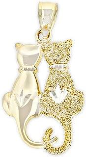 14k gold cat necklace
