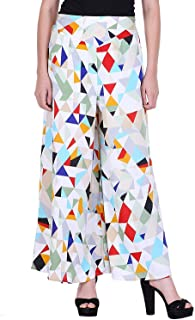 FABLAB Women's Printed Crepe flared palazzo for women with Inner (Shorts) & pocket Combo Pack of -1_Diamond