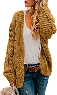10e8cfb1f84 Astylish Women Open Front Long Sleeve Chunky Knit Cardigan Sweaters Loose  Outwear Coat S-XXL