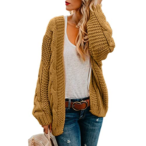 c1c18bd98 Womens Cardigans Ladies Autumn Warm Cozy Open Front Long Sleeve Chunky  Cable Knit Ribbed Cardigan Sweater