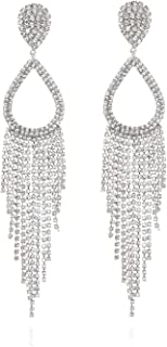 Clip On Halo Teardrop Cascade Fashion Earrings Accented with Diamond Like Rhinestones
