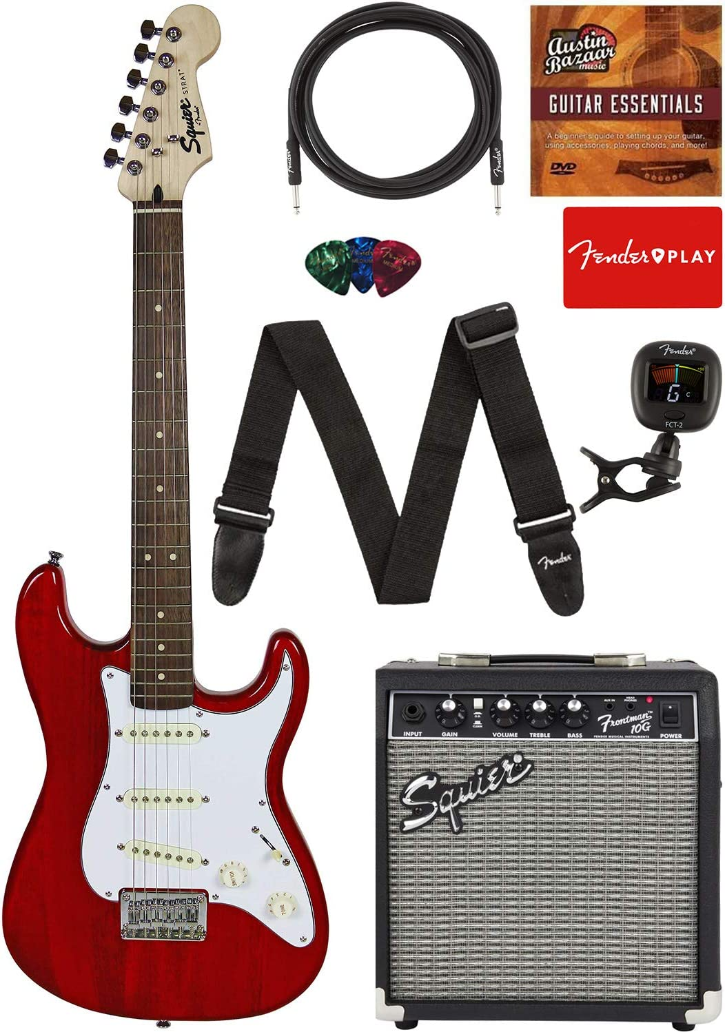 """Fender Squier Short Scale (24"""") Stratocaster - Transparent Red Learn-to-Play Bundle with Frontman 10G Amp, Cable, Tuner, Strap, Picks, Fender Play Online Lessons, and Austin Bazaar Instructional DVD"""